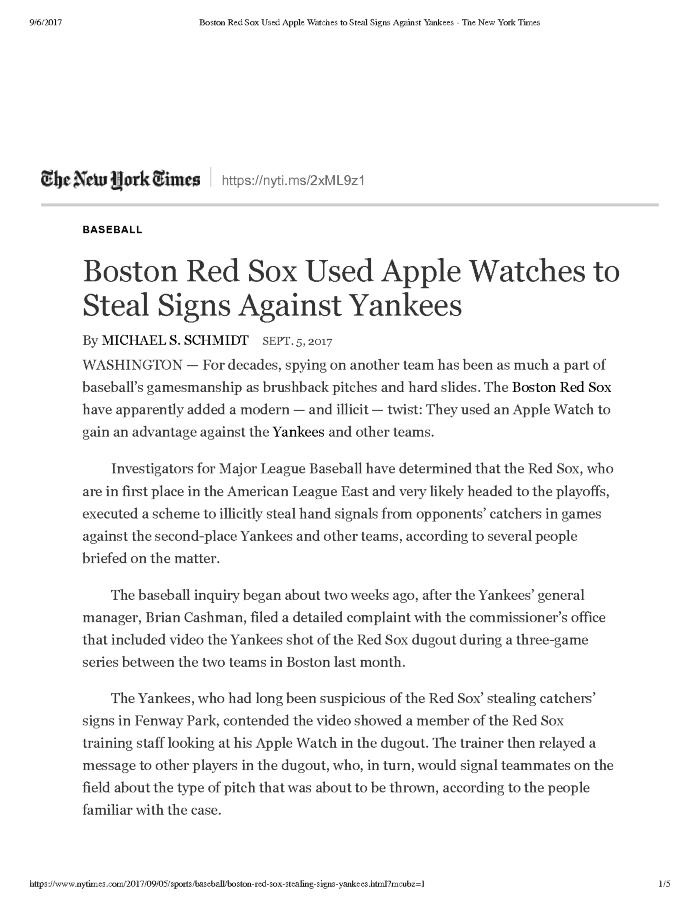 Boston Red Sox Used Apple Watches to Steal Signs Against Yankees