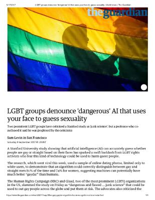 LGBT groups denounce 'dangerous' AI that uses your face to guess sexuality