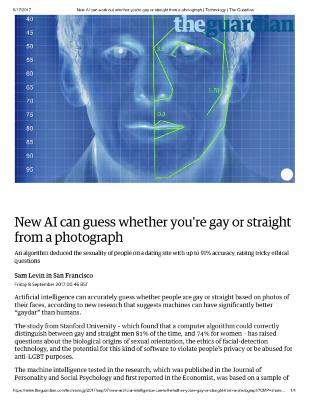 New AI can guess whether you're gay or straight from a photograph