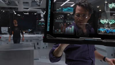 The Avengers - Stark and Banner Use Transparent Computer Screens