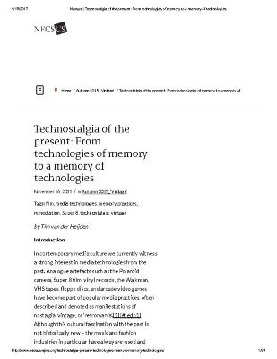 Technostalgia of the present: From technologies of memory to a memory of technologies