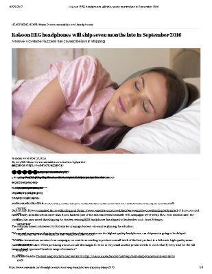 Kokoon EEG headphones will ship seven months late in September 2016