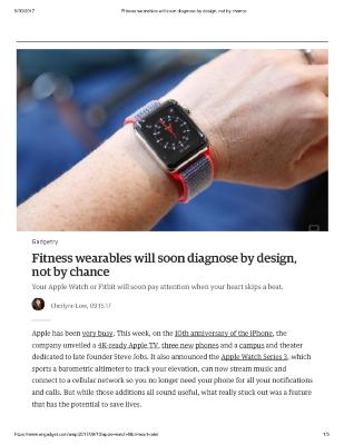 Fitness wearables will soon diagnose by design, not by chance