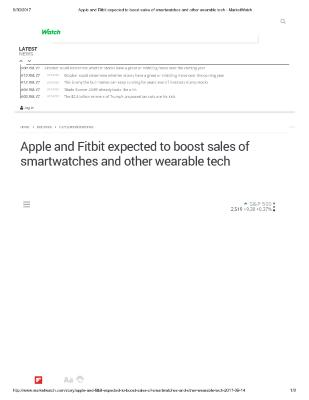 Apple and Fitbit expected to boost sales of smartwatches and other wearable tech