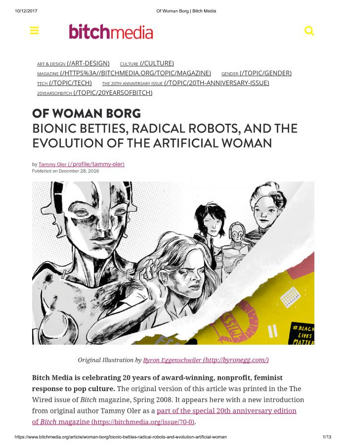 OF WOMAN BORG: BIONIC BETTIES, RADICAL ROBOTS, AND THE EVOLUTION OF THE ARTIFICIAL WOMAN