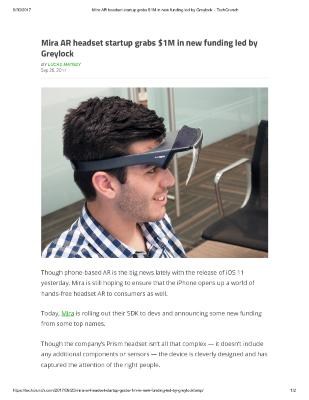 Mira AR headset startup grabs $1M in new funding led by Greylock