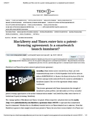 BlackBerry and Timex enter into a patent-licensing agreement: Is a smartwatch launch imminent?