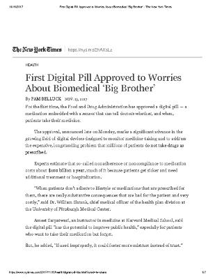 First Digital Pill Approved to Worries About Biomedical 'Big Brother'
