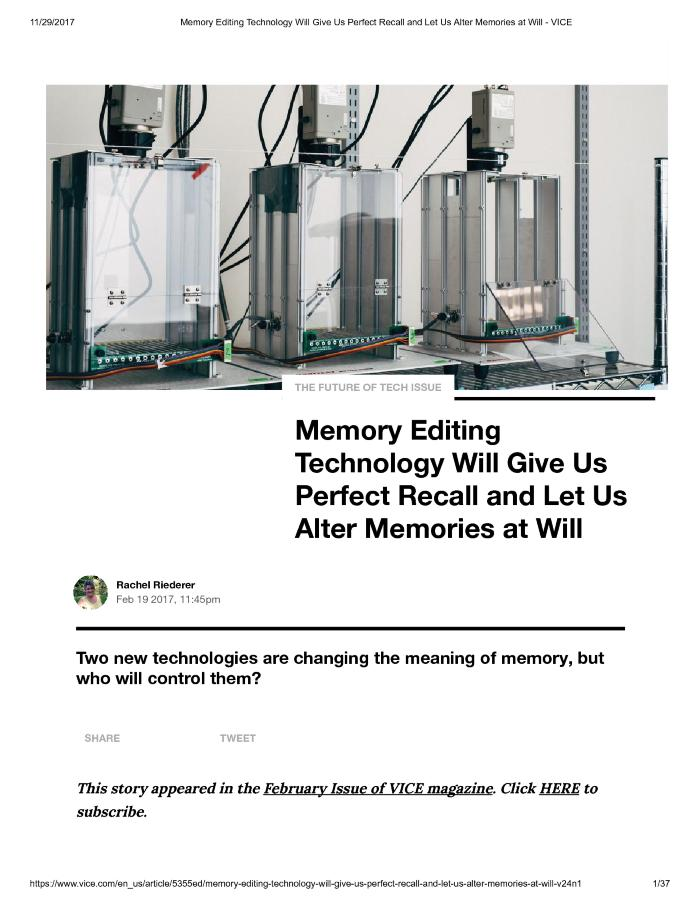 Memory Editing Technology Will Give Us Perfect Recall and Let Us Alter Memories at Will