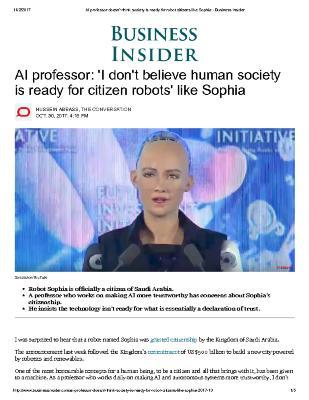 AI professor: 'I don't believe human society is ready for citizen robots' like Sophia