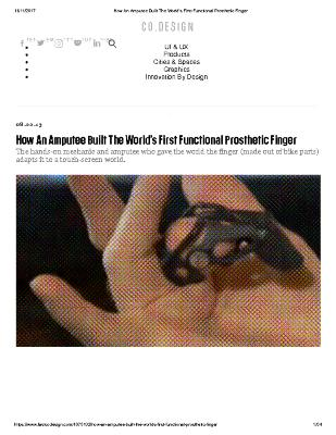 How An Amputee Built The World's First Functional Prosthetic Finger