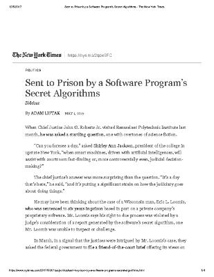 Sent to Prison by a Software Program's Secret Algorithms