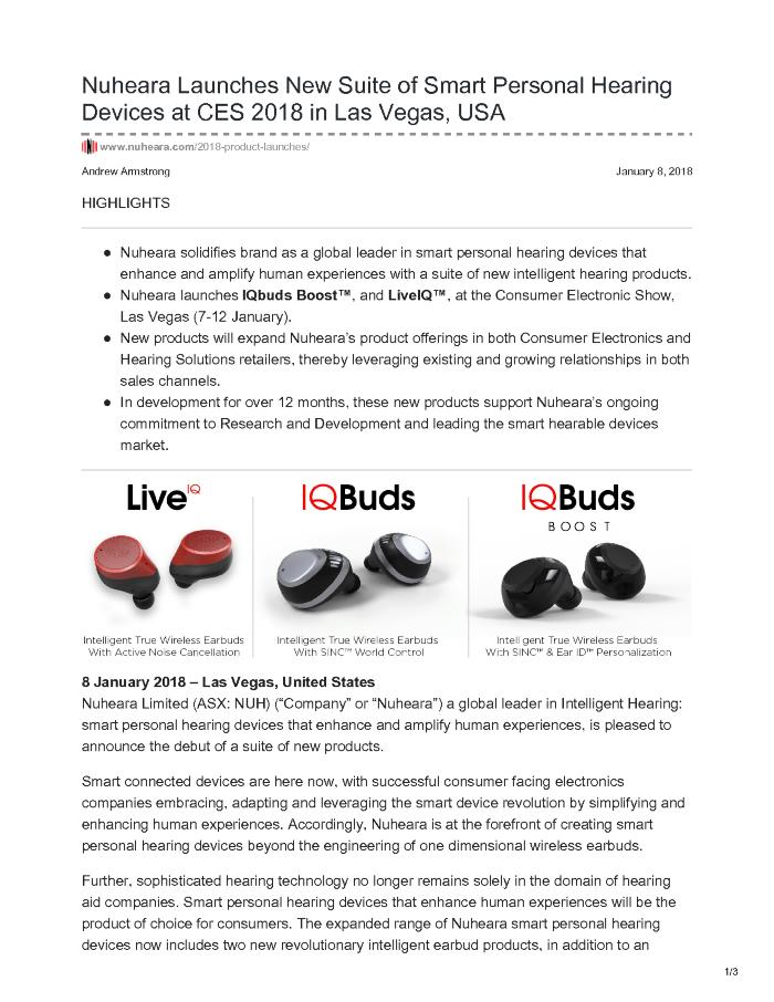 Nuheara Launches New Suite of Smart Personal Hearing Devices at CES 2018 in Las Vegas, USA
