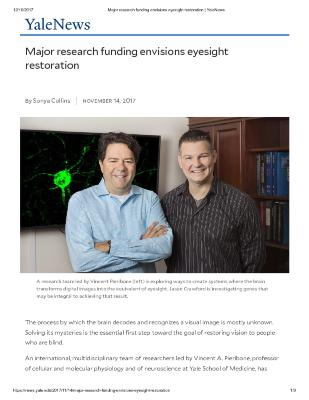 Major research funding envisions eyesight restoration