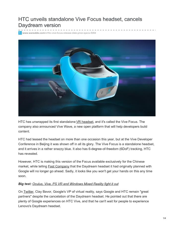 HTC Vive Focus could be the next Daydream VR headset