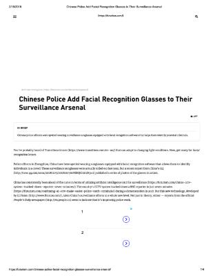 Chinese Police Add Facial Recognition Glasses to Surveillance Arsenal