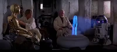 Star Wars - Episode IV - A New Hope - R2D2 Plays a Holographic Recording of Princess Leia