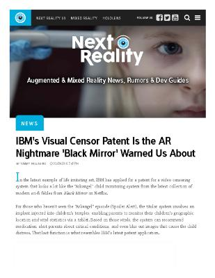IBM's Visual Censor Patent Is the AR Nightmare 'Black Mirror' Warned Us About