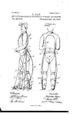 Apparatus for facilitating walking (US Patent 420179A)