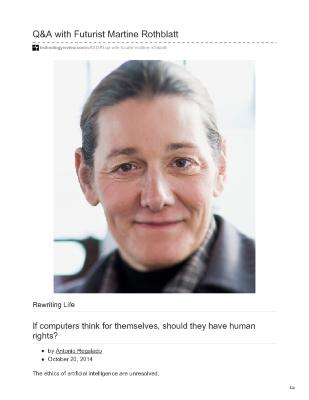 Q&A with Futurist Martine Rothblatt: if computers think for themselves, should they have human rights?