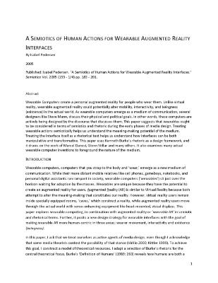 A Semiotics Of Human Actions For Wearable Augmented Reality Interfaces