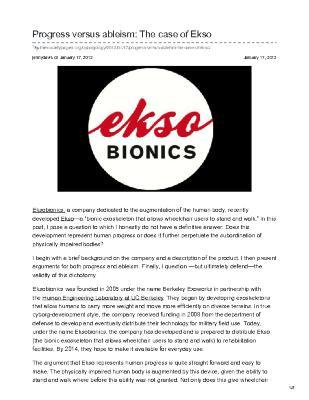 Progress versus ableism: The case of Ekso