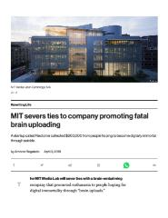 MIT severs ties to company promoting fatal brain uploading