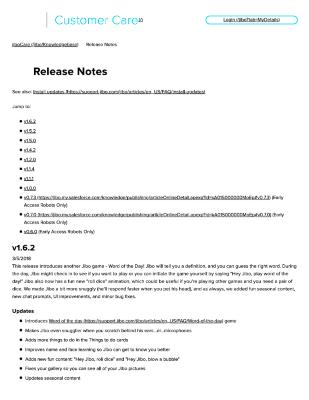 Jibo Release Notes