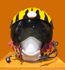 <b>Fighter Pilot's Helmet, c. 1985</b> <br /> Artifact no. 1995.1671 <br /> Canada Science and Technology Museum