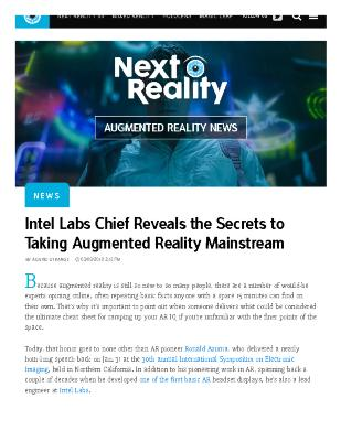 Intel Labs Chief Reveals the Secrets to Taking Augmented Reality Mainstream
