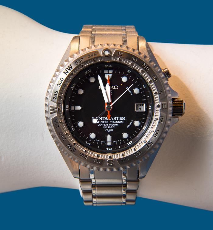 <b>Landmaster 5M45 Wristwatch, 1994</b> <br /> Artifact no. 1996.0215 <br /> Canada Science and Technology Museum