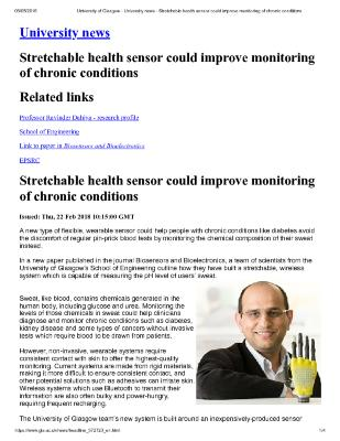 STRETCHABLE HEALTH SENSOR COULD IMPROVE MONITORING OF CHRONIC CONDITIONS