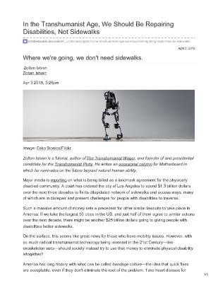 In the Transhumanist Age, We Should Be Repairing Disabilities, Not Sidewalks