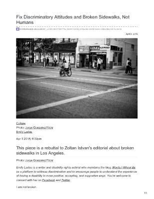 Fix Discriminatory Attitudes and Broken Sidewalks, Not Humans