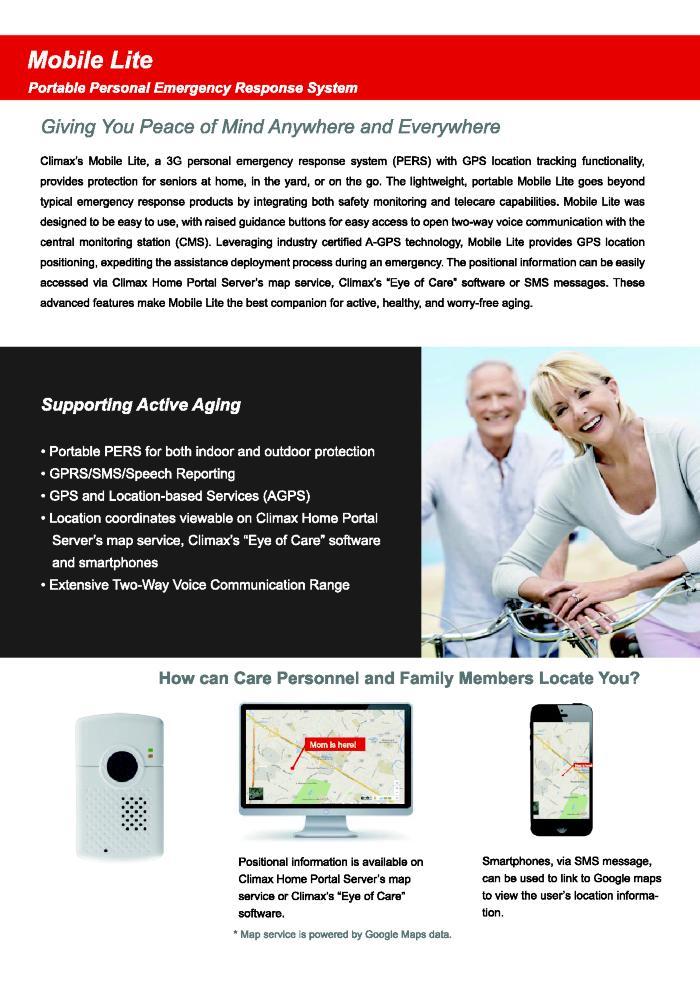 Mobile Lite: Portable Personal Emergency Response System Brochure