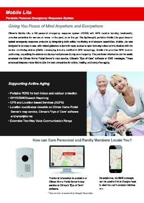 Mobile Lite: Portable Personal Emergency Response System Brochure
