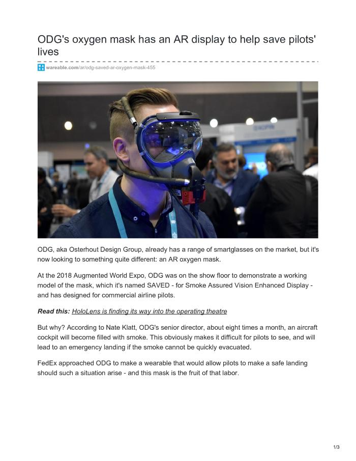 ODG's oxygen mask has an AR display to help save pilots' lives