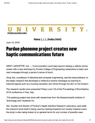Purdue phoneme project creates new haptic communications future