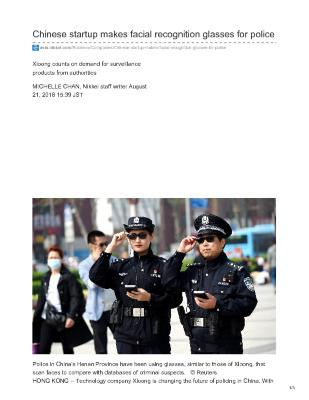 Chinese startup makes facial recognition glasses for police