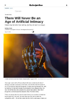 There Will Never Be an Age of Artificial Intimacy