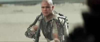 Elysium - Max Shoots at a Bounty Hunter Who Deploys a Personal Forcefield