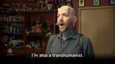 Transhumanist Russ Fox shows his technological implants