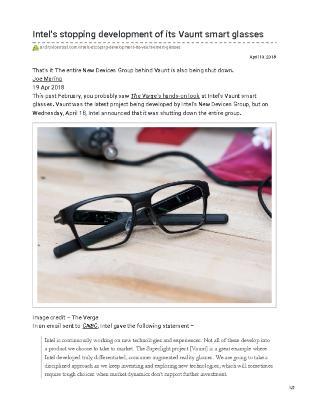 Intel's stopping development of its Vaunt smart glasses