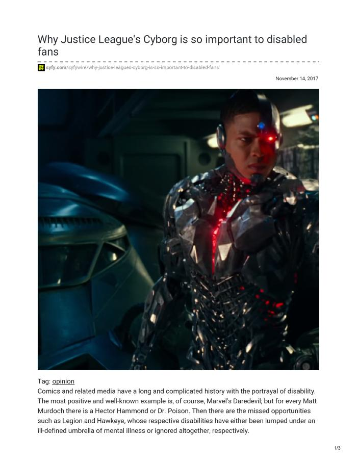 WHY JUSTICE LEAGUE'S CYBORG IS SO IMPORTANT TO DISABLED FANS
