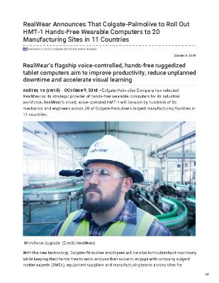 RealWear Announces That Colgate-Palmolive to Roll Out HMT-1 Hands-Free Wearable Computers to 20 Manufacturing Sites in 11 Countries