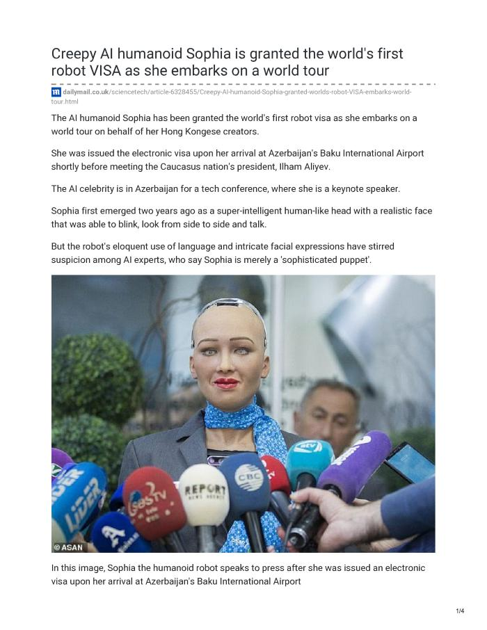 Creepy AI humanoid Sophia is granted the world's first robot VISA as she embarks on a world tour