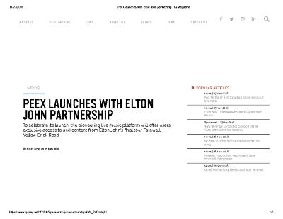 PEEX LAUNCHES WITH ELTON JOHN PARTNERSHIP