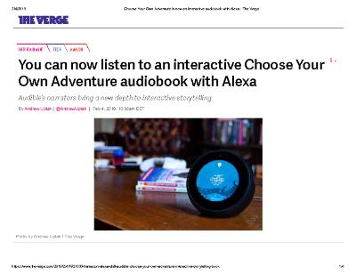 You can now listen to an interactive Choose Your Own Adventure audiobook with Alexa