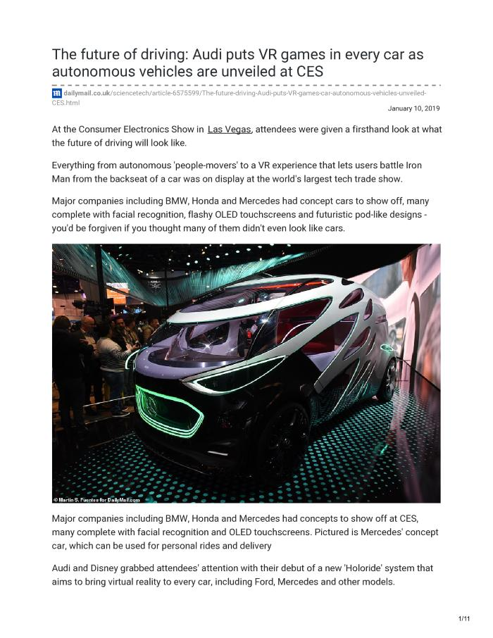 The future of driving: From Disney and Audi's new 'Holoride' experience that puts VR games in every car to the latest in autonomous vehicles at CES