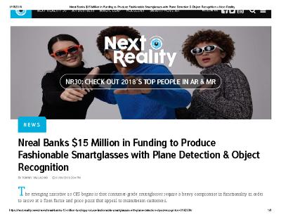 Nreal Banks $15 Million in Funding to Produce Fashionable Smartglasses with Plane Detection & Object Recognition